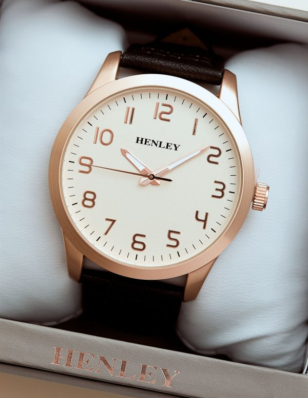 Callel Henley Classic Rose Gold Stainless Steel Black Faux Leather Strap Mens Watch