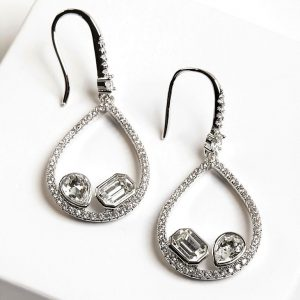 Silver Hook Earrings Embellished With White Crystals From Swarovski