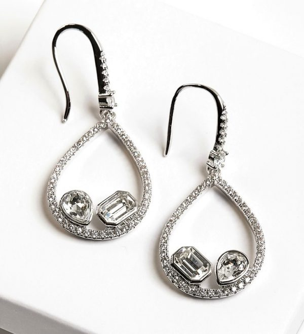 Callel Silver Hook Earrings Embellished With White Crystal From Swarovski