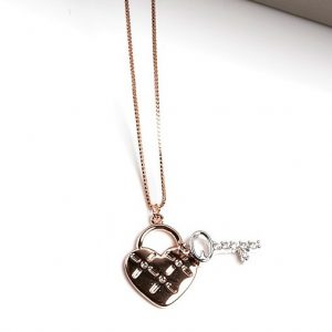 Rose Gold Heart Lock & Key Pendant Necklace