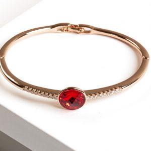 Gold Bangle Bracelet Embellished With Ruby Crystal From Swarovski
