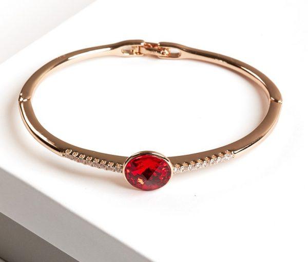 Callel Gold Bangle Bracelet Embellished with Crystal from Swarovski