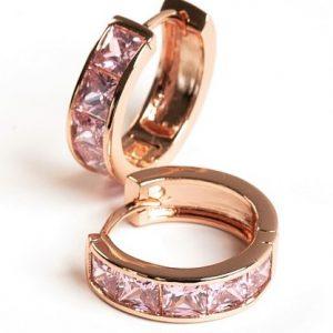 Pink Cubic Zirconia Huggie Hoop Earrings
