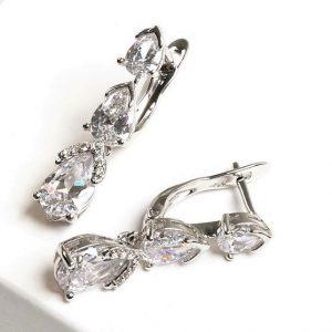 Silver Cubic Zirconia Dangle Drop Latch Back Earrings