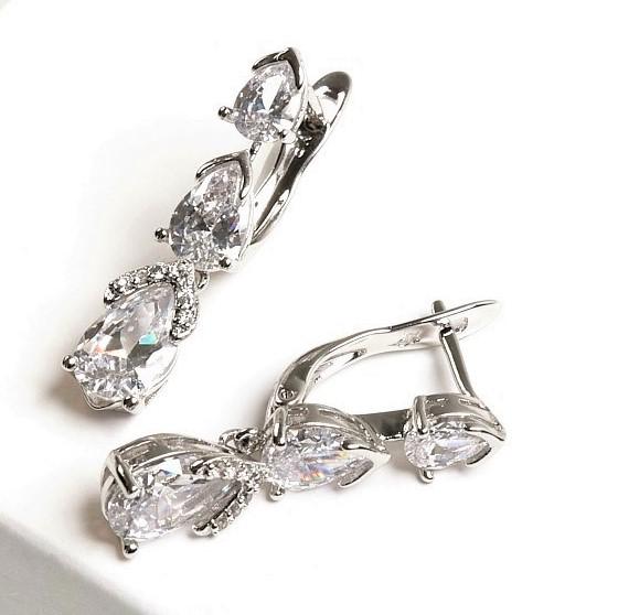 Callel Silver Cubic Zirconia Dangle Drop Creole Earrings