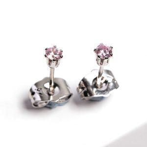 Silver 3mm Pink Cubic Zirconia Crystal Stud Earrings