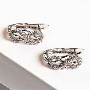 Silver Cubic Zirconia Infinity Earrings