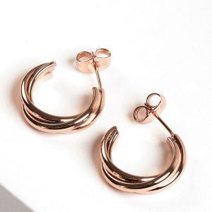 Rose Gold Twisted Half Hoop Stud Earrings