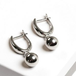 Highly Polished Silver Ball Drop Earrings