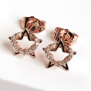 Heart & Star Cubic Zirconia Stud Earrings