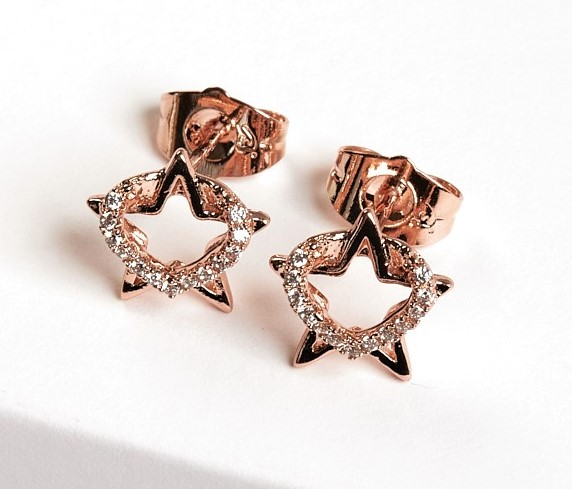 Callel Heart & Star Cubic Zirconia Stud Earrings