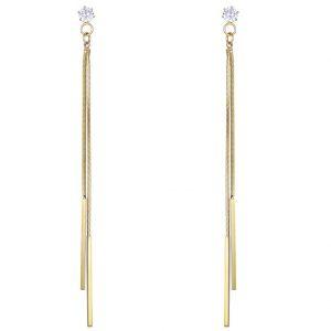 Gold Note Long Drop Stud Earrings