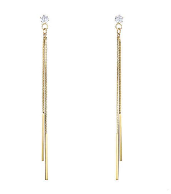 Callel Gold Plated Note Long Drop Stud Earrings