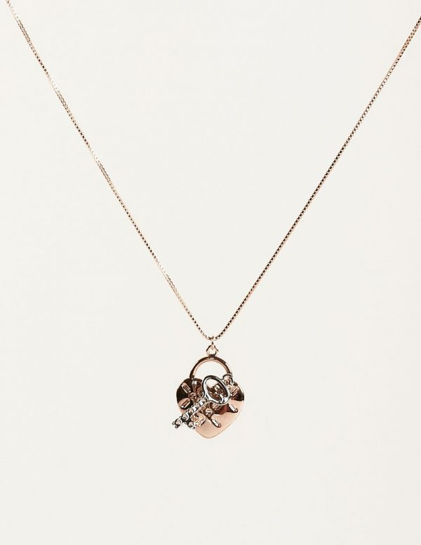 Callel Rose Gold Heart Lock and Key Pendant Necklace