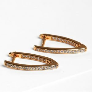 Gold Cubic Zirconia Latch Back Earrings