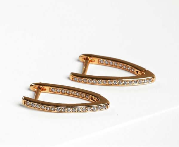 Callel Gold Color Cubic Zirconia Latch Back Earrings