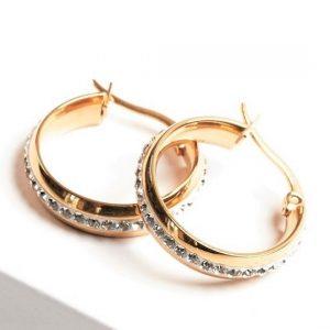 Stainless Steel Cubic Zirconia Creole Hoop Earrings In Gold