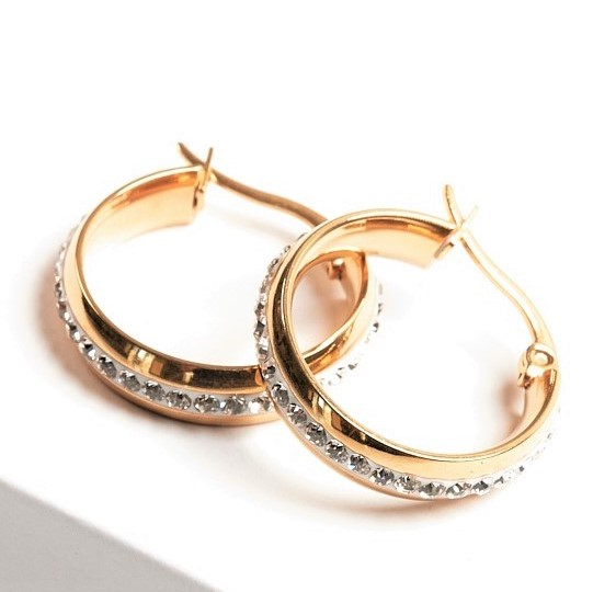 Callel 24K Gold Colour Stainless Steel Cubic Zirconia Creole Earrings