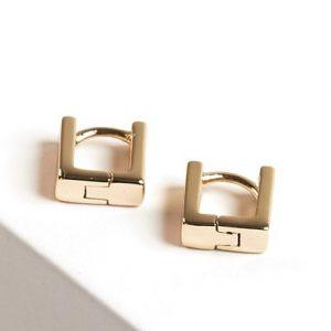 Tiny Square Huggie Earrings