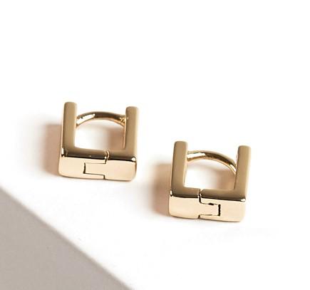 Callel Huggie Gold Colour Square Hoop Earrings