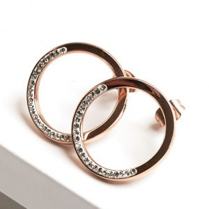 Rose Gold Large Fancy Circle Cubic Zirconia Crystal Stud Earrings