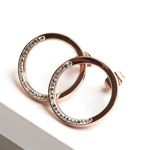 Callel Rose Gold Large Circle Cubic Zirconia Crystal Stud Earrings