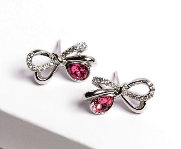 Callel Bow Stud Earrings Embellished with Crystal from Swarovski