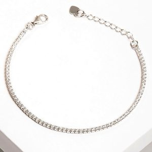 925 Sterling Silver Silver Clear Cubic Zirconia Tennis Bracelet