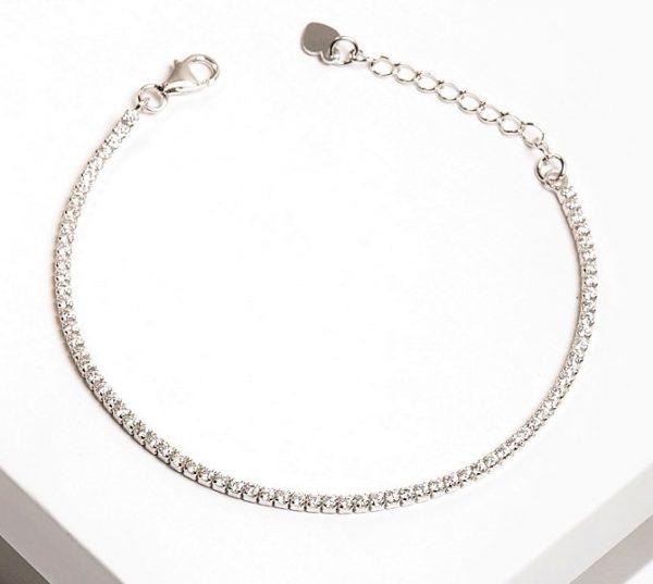 Callel 925 Sterling Silver Silver Clear CZ Tennis Bracelet