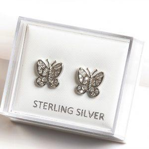925 Sterling Silver Clear Cubic Zirconia Butterfly Stud Earrings