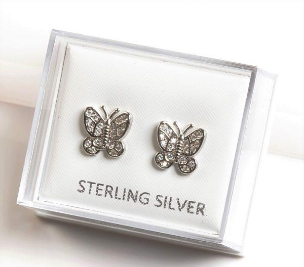 Callel 925 Sterling Silver Clear CZ Butterfly Stud Earrings