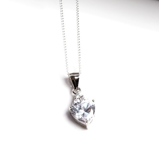 Callel 925 Sterling Silver Heart Clear CZ Heart Pendant Necklace