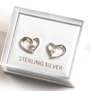 925 Sterling Silver Clear Cubic Zirconia Open Heart Stud Earrings