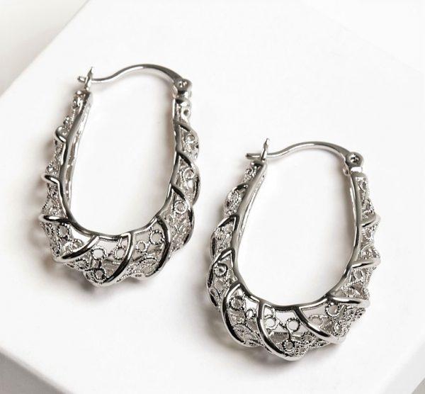 Callel Silver Creole Hoop Earrings