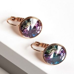 Gold Huggie Earrings Embellished With Lilac Crystal From Swarovski