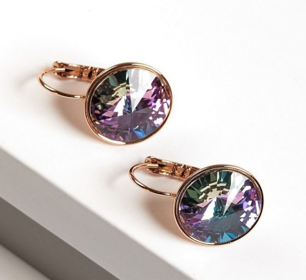 Callel 18K Gold Colour Earrings Embellished With Lilac Crystal From Swarovski