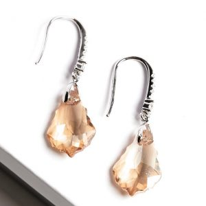 Silver Hook Earrings Embellished With Champagne Crystal From Swarovski