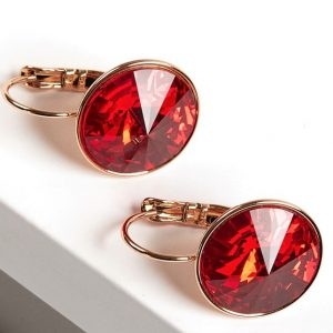 Gold Earrings Embellished With Red Crystal From Swarovski