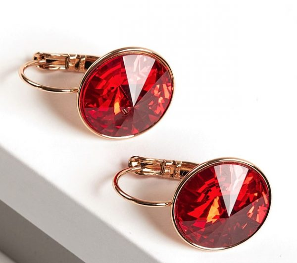 Callel Earrings Embellished with Red Crystal from Swarovski
