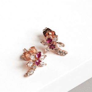 Dragonfly Rose Gold Cubic Zirconia Stud Earrings