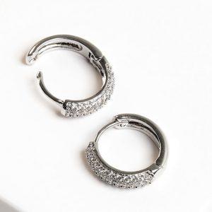 Silver Cubic Zirconia Hoop Huggie Earrings