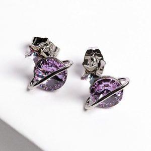 Planet Stud Earrings Embellished With Purple Crystal From Swarovski