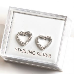 925 Sterling Silver Clear Cubic Zirconia Heart Stud Earrings