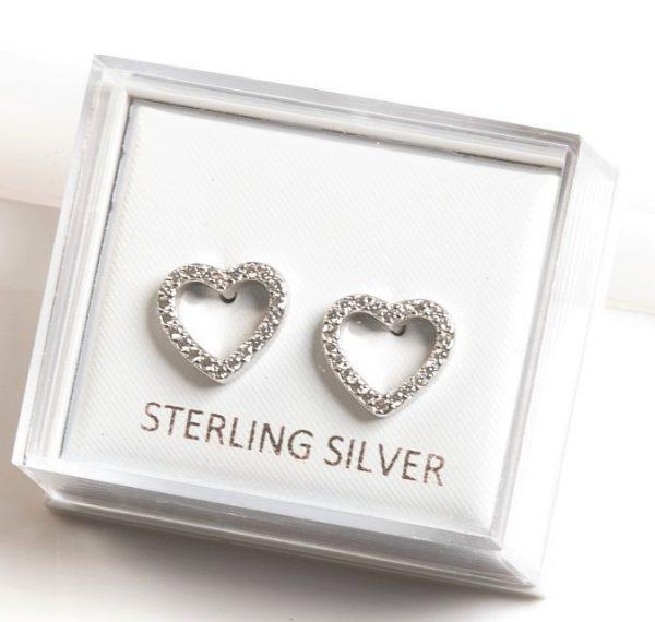 Callel sterling silver heart stud earrings