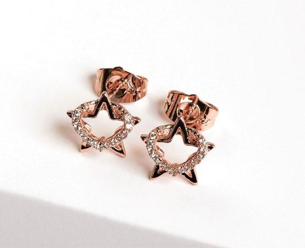 Callel Rose Gold Tone Heart & Star Cubic Zirconia Stud Earrings