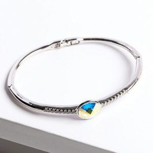 Silver Bangle Bracelet Embellished With AB Crystal From Swarovski