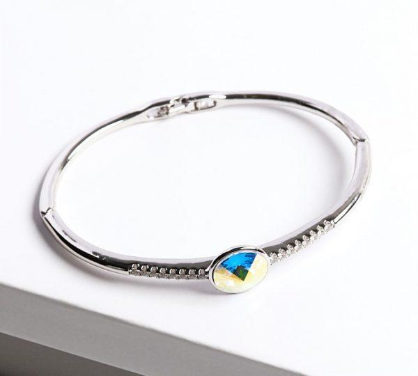 Callel Silver Bangle Bracelet Embellished with AB Crystal from Swarovski