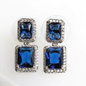 Silver Square Blue Cubic Zirconia Drop Stud Earrings