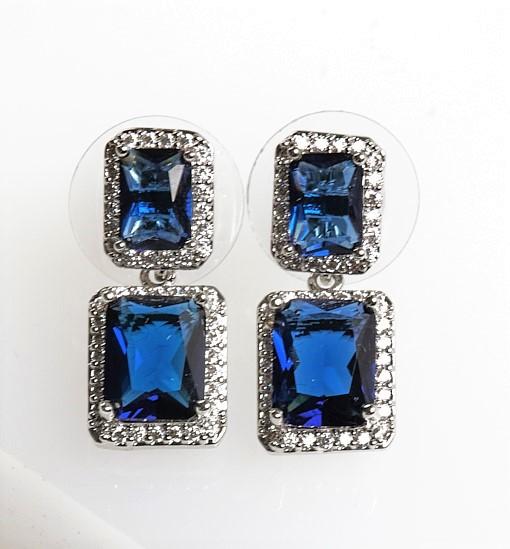 Callel Silver Square Blue Cubic Zirconia Drop Stud Earrings