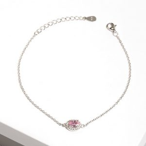 925 Sterling Silver Clear & Rose Cubic Zirconia Bracelet